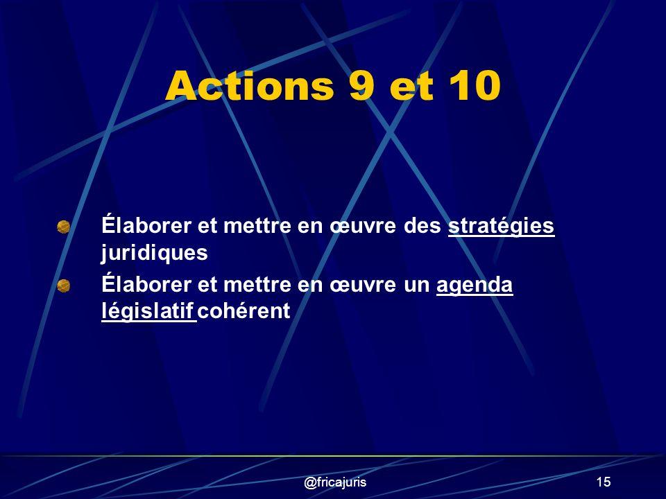 @fricajuris15 Actions 9 et 10 Élaborer et mettre en œuvre des stratégies juridiques Élaborer et mettre en œuvre un agenda législatif cohérent