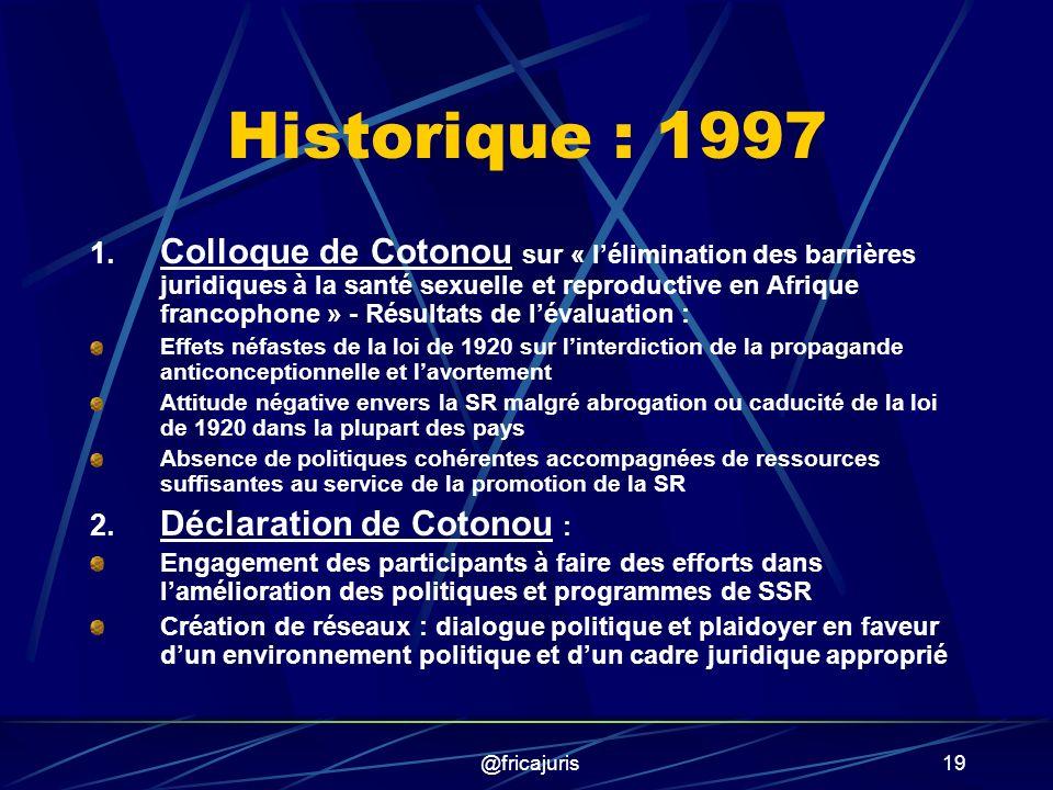 @fricajuris19 Historique : 1997 1.
