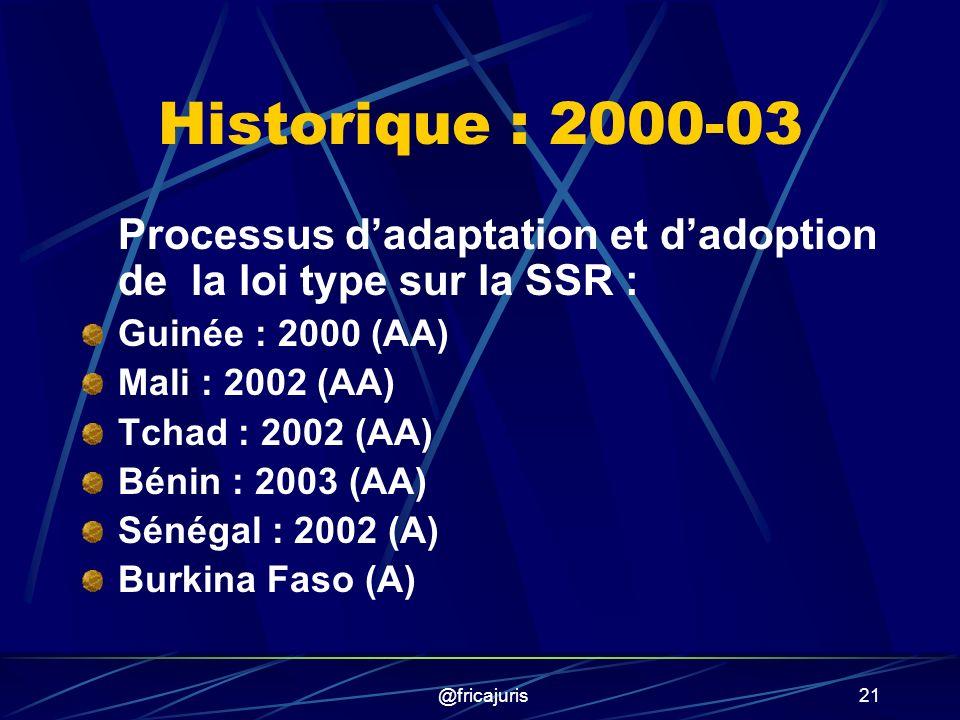 @fricajuris21 Historique : 2000-03 Processus dadaptation et dadoption de la loi type sur la SSR : Guinée : 2000 (AA) Mali : 2002 (AA) Tchad : 2002 (AA) Bénin : 2003 (AA) Sénégal : 2002 (A) Burkina Faso (A)