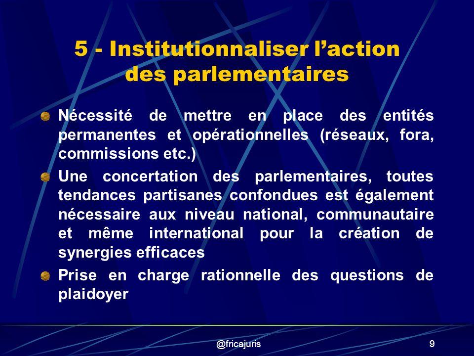 @fricajuris20 Historique : 1999 Partenariat FPAAPD-POLICY-FNUAP (Parlem., ONG, Gvts), Abidjan Conception, élaboration et validation : Stratégie dharmonisation des législations sur la SSR en Afrique de lOuest (harmonisation et non unification) Projet de loi type en faveur de la SSR (nécessité dadaptation avant adoption)