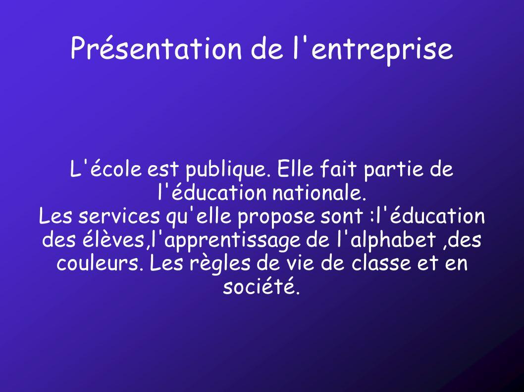 Présentation de l'entreprise L'école est publique. Elle fait partie de l'éducation nationale. Les services qu'elle propose sont :l'éducation des élève