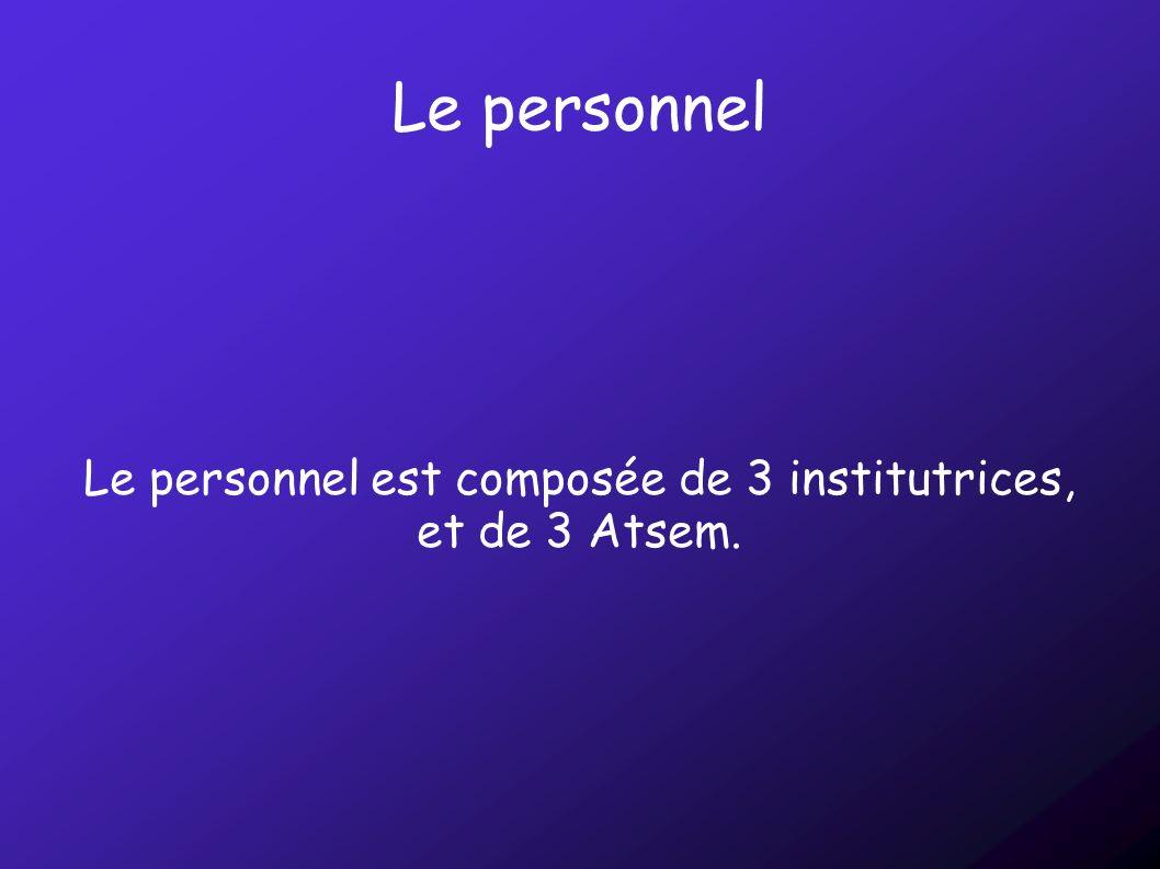 Le personnel Le personnel est composée de 3 institutrices, et de 3 Atsem.