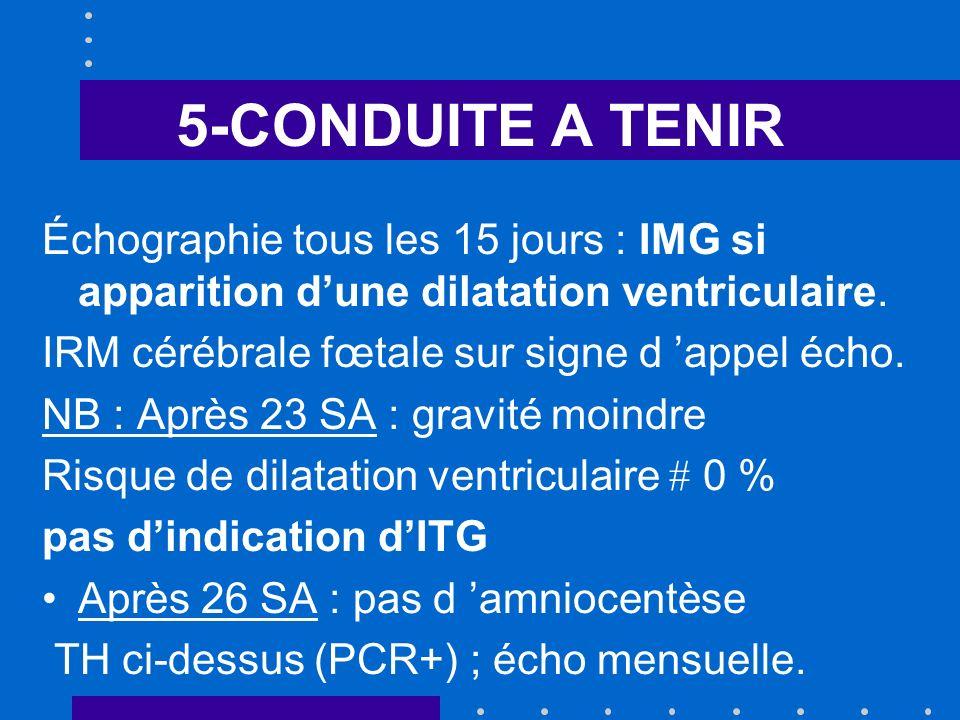 5-CONDUITE A TENIR Échographie tous les 15 jours : IMG si apparition dune dilatation ventriculaire.