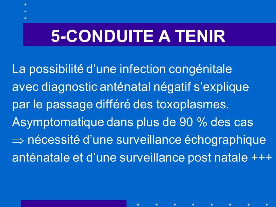 5-CONDUITE A TENIR La possibilité dune infection congénitale avec diagnostic anténatal négatif sexplique par le passage différé des toxoplasmes.