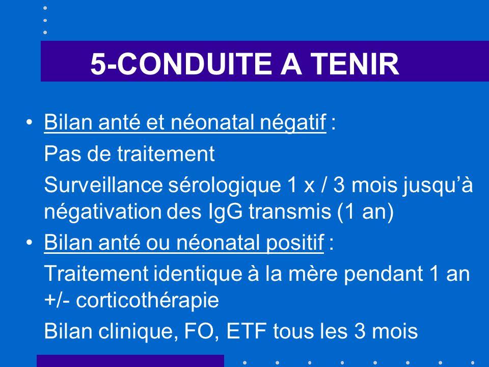 5-CONDUITE A TENIR Bilan anté et néonatal négatif : Pas de traitement Surveillance sérologique 1 x / 3 mois jusquà négativation des IgG transmis (1 an) Bilan anté ou néonatal positif : Traitement identique à la mère pendant 1 an +/- corticothérapie Bilan clinique, FO, ETF tous les 3 mois