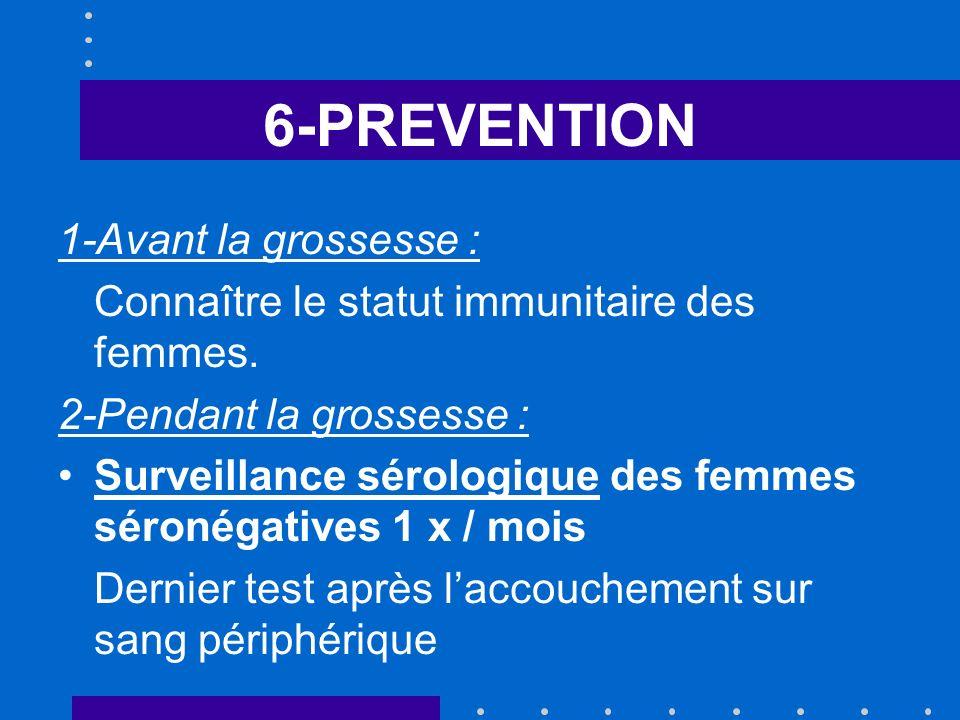 6-PREVENTION 1-Avant la grossesse : Connaître le statut immunitaire des femmes.