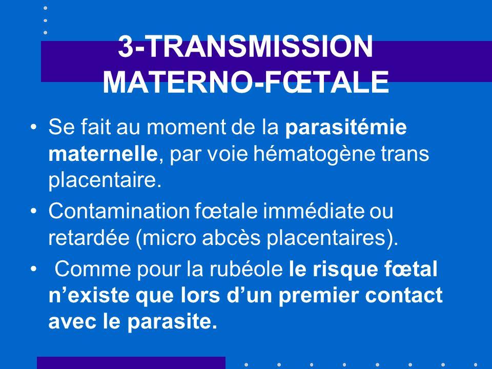 3-TRANSMISSION MATERNO-FŒTALE Risque de transmission : global = 30 % Périconceptionnel : 1% 1 er trimestre : 5 à 10 % 2è trimestre : 20 à 25 % 3è trimestre : 65 à 80 %