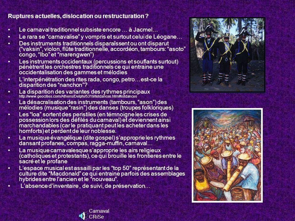 Les fonctions suivants les « nanchon » FonctionsGroupes Ethniques Musiques De célébrationsGuinéen (Fon surtout) Yanvalou, Mahi, Djouba… GuerrièresGuinéen (Nago - Yoruba) Nago, Ibo MagiquesBantou (Congo - Soudanais) Congo, Pétro, Ibo FunèbresGuinéen (Gédé)Gédé LibidinalesGuinéen (Gédé), … Gédé De divertissementsBantou (Congo ) Indiens…… Rara, … Yanvalou Nago,Zepol Kongo payèt Gede brav