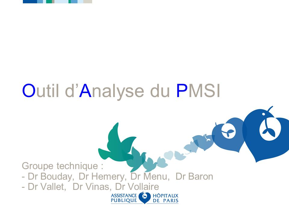 Outil dAnalyse du PMSI Groupe technique : - Dr Bouday, Dr Hemery, Dr Menu, Dr Baron - Dr Vallet, Dr Vinas, Dr Vollaire