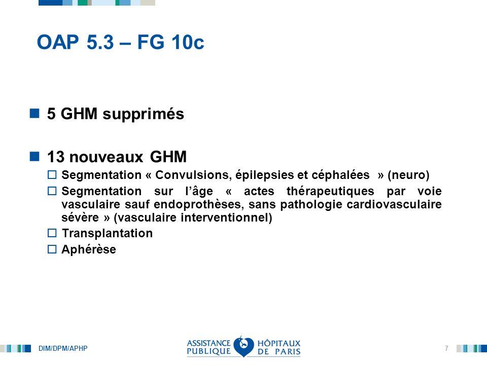 DIM/DPM/APHP 8 OAP 5.3 – FG 10c Inclure les nouveaux GHM tout en préservant la continuité avec OAP 5 (FG 10, FG10b) Pas de changements importants