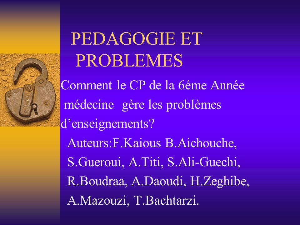 PEDAGOGIE ET PROBLEMES Comment le CP de la 6éme Année médecine gère les problèmes denseignements? Auteurs:F.Kaious B.Aichouche, S.Gueroui, A.Titi, S.A