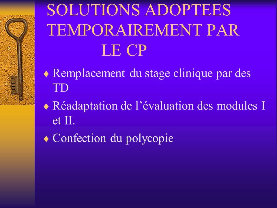 SOLUTIONS ADOPTEES TEMPORAIREMENT PAR LE CP Remplacement du stage clinique par des TD Réadaptation de lévaluation des modules I et II. Confection du p