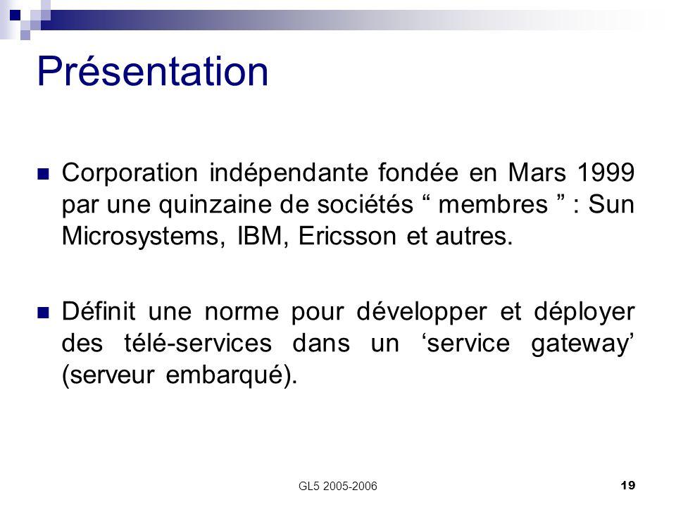 GL5 2005-200619 Présentation Corporation indépendante fondée en Mars 1999 par une quinzaine de sociétés membres : Sun Microsystems, IBM, Ericsson et a