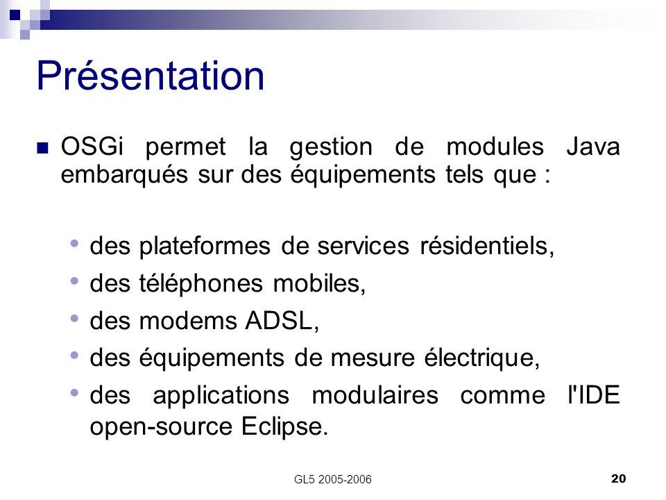 GL5 2005-200620 Présentation OSGi permet la gestion de modules Java embarqués sur des équipements tels que : des plateformes de services résidentiels,