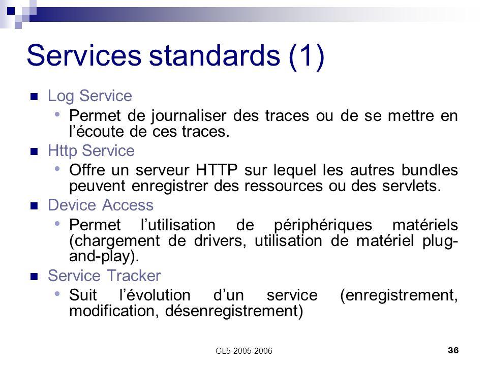 GL5 2005-200636 Services standards (1) Log Service Permet de journaliser des traces ou de se mettre en lécoute de ces traces. Http Service Offre un se