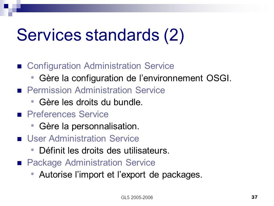 GL5 2005-200637 Services standards (2) Configuration Administration Service Gère la configuration de lenvironnement OSGI. Permission Administration Se