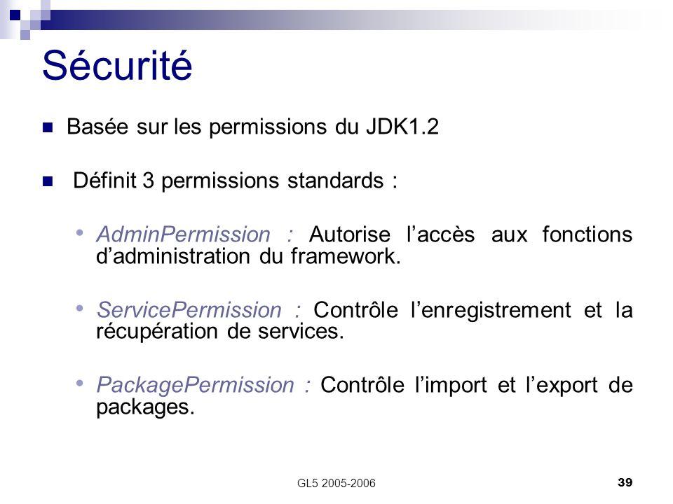 GL5 2005-200639 Basée sur les permissions du JDK1.2 Définit 3 permissions standards : AdminPermission : Autorise laccès aux fonctions dadministration