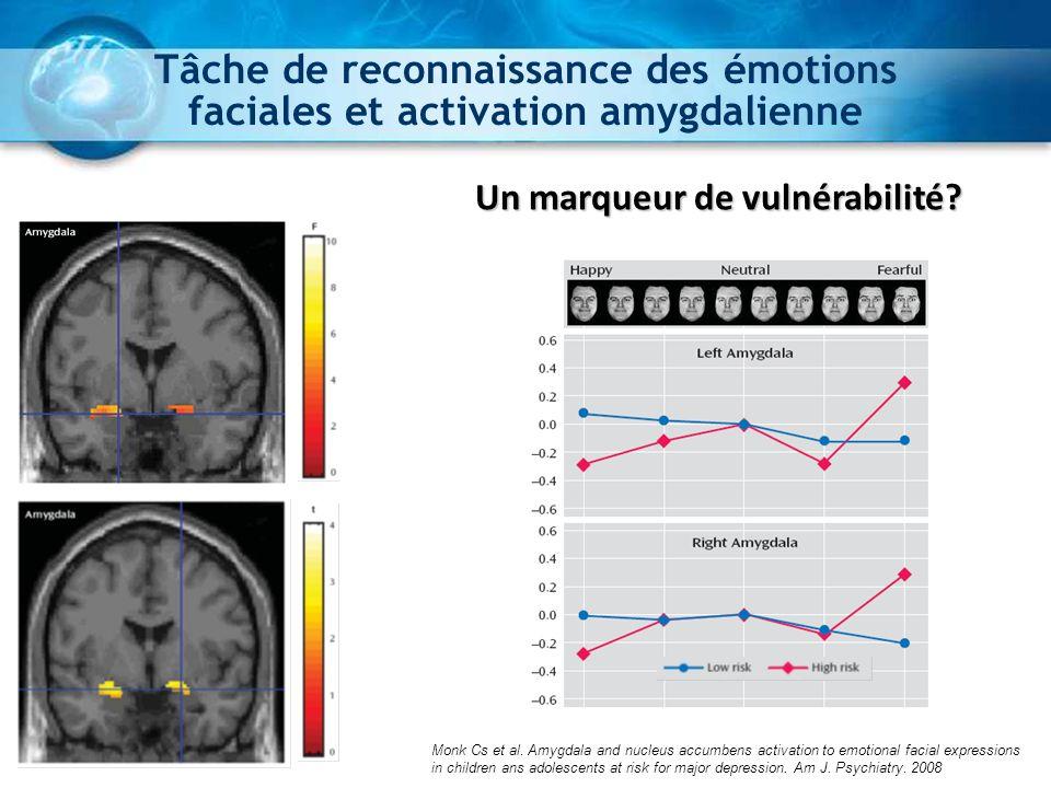 Tâche de reconnaissance des émotions faciales et activation amygdalienne Un marqueur de vulnérabilité? Monk Cs et al. Amygdala and nucleus accumbens a