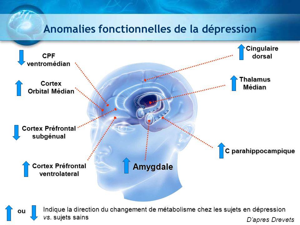 X = -3 Y = -31 SUBGENUAL PFC t - V A L U E -5.5 -2.8 0 Réduction persistante du métabolisme du glucose dans cortex préfrontal correspondant à une réduction de son volume Anomalies fonctionnelles de la dépression