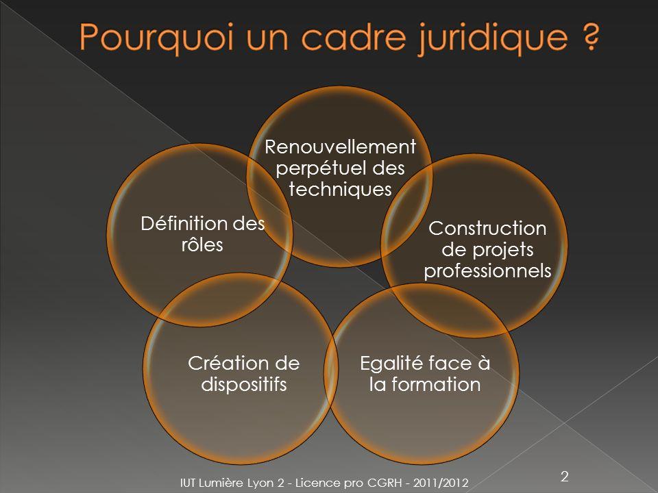 IUT Lumière Lyon 2 - Licence pro CGRH - 2011/2012 2 Renouvellement perpétuel des techniques Construction de projets professionnels Egalité face à la f