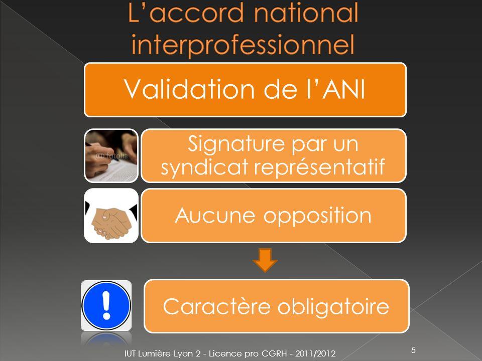 5 Validation de lANI Signature par un syndicat représentatif Aucune opposition Caractère obligatoire