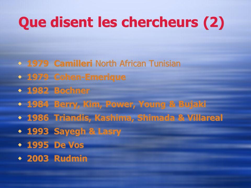 Que disent les chercheurs (2) 1979 Camilleri North African Tunisian 1979 Cohen-Emerique 1982 Bochner 1984 Berry, Kim, Power, Young & Bujaki 1986 Trian