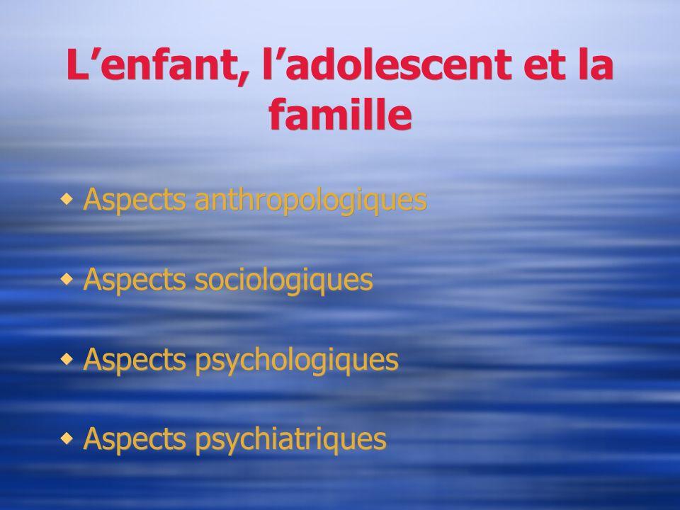 Lenfant, ladolescent et la famille Aspects anthropologiques Aspects sociologiques Aspects psychologiques Aspects psychiatriques Aspects anthropologiqu