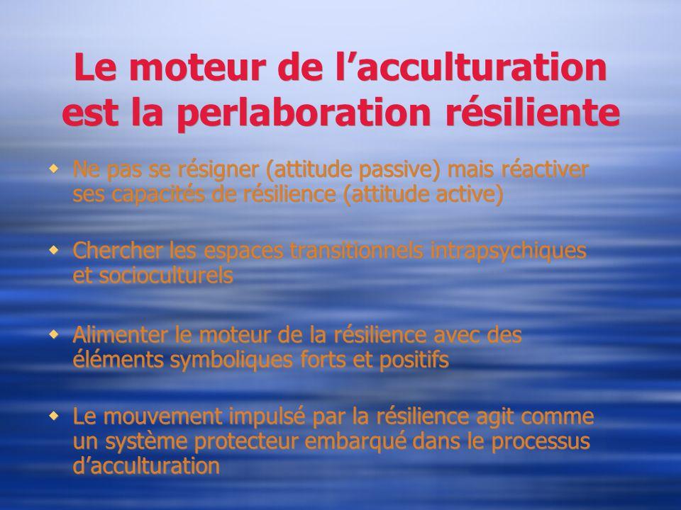 Le moteur de lacculturation est la perlaboration résiliente Ne pas se résigner (attitude passive) mais réactiver ses capacités de résilience (attitude