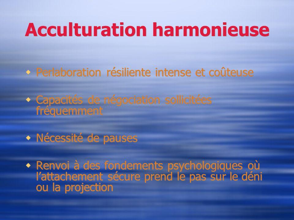 Acculturation harmonieuse Perlaboration résiliente intense et coûteuse Capacités de négociation sollicitées fréquemment Nécessité de pauses Renvoi à d
