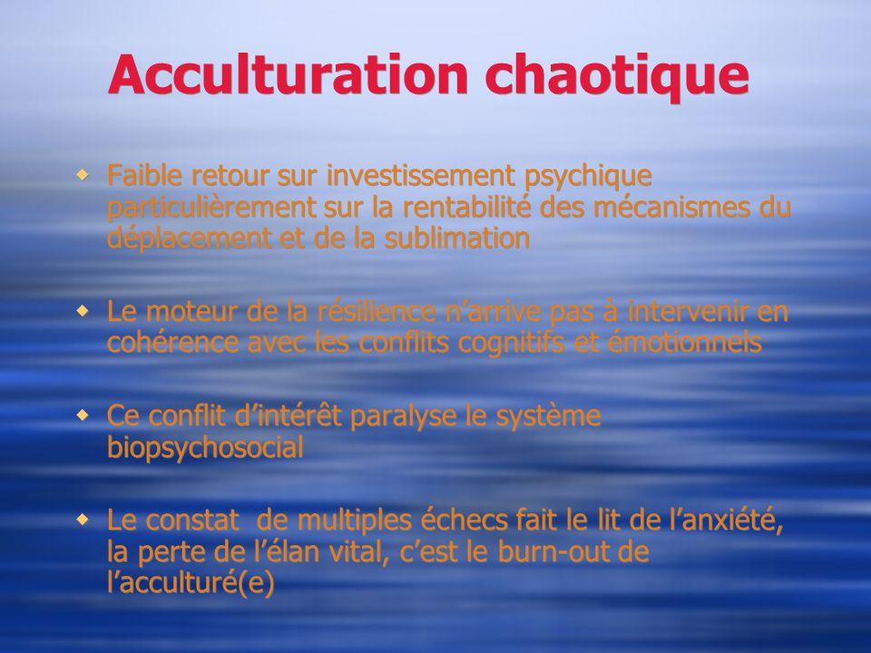 Acculturation chaotique Faible retour sur investissement psychique particulièrement sur la rentabilité des mécanismes du déplacement et de la sublimat