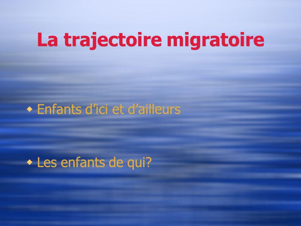 La trajectoire migratoire Enfants dici et dailleurs Les enfants de qui? Enfants dici et dailleurs Les enfants de qui?
