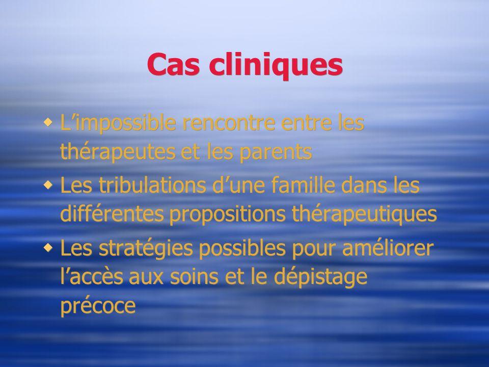 Cas cliniques Limpossible rencontre entre les thérapeutes et les parents Les tribulations dune famille dans les différentes propositions thérapeutique