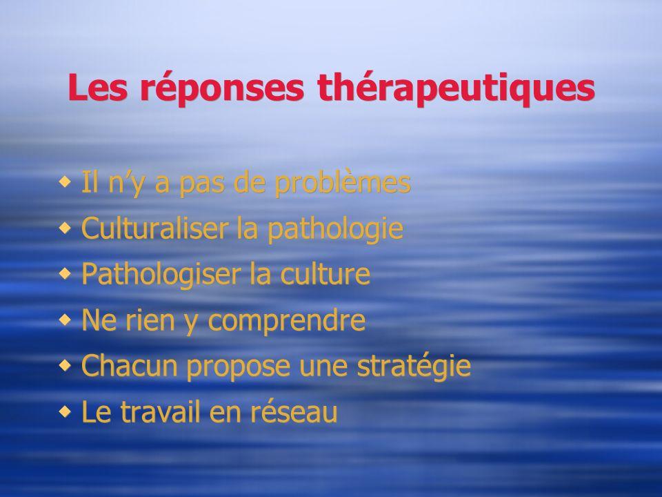 Les réponses thérapeutiques Il ny a pas de problèmes Culturaliser la pathologie Pathologiser la culture Ne rien y comprendre Chacun propose une straté