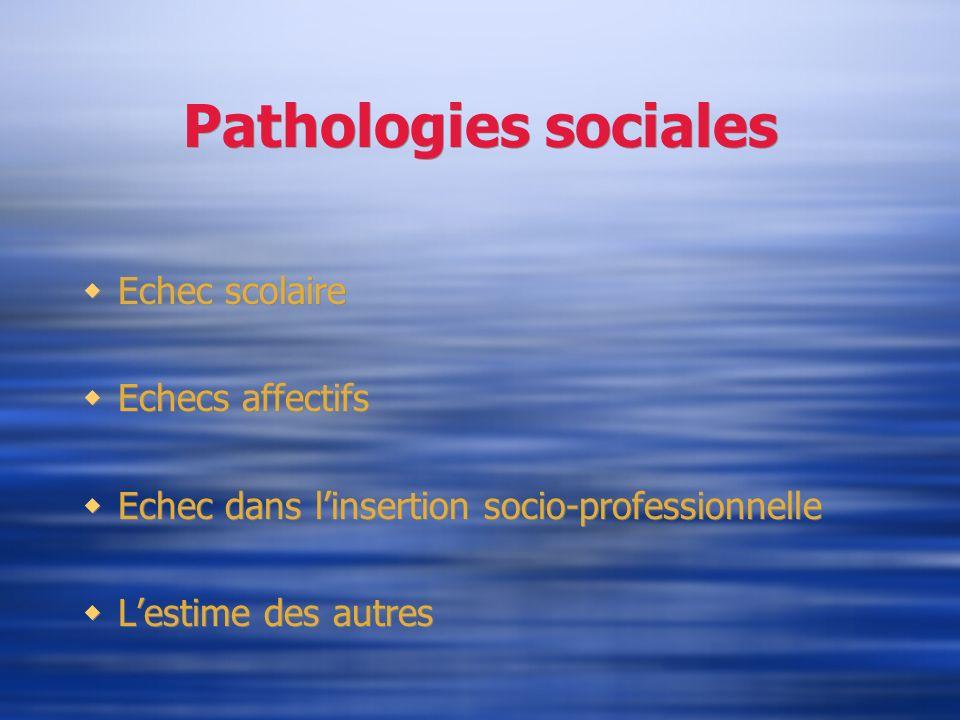 Pathologies sociales Echec scolaire Echecs affectifs Echec dans linsertion socio-professionnelle Lestime des autres Echec scolaire Echecs affectifs Ec