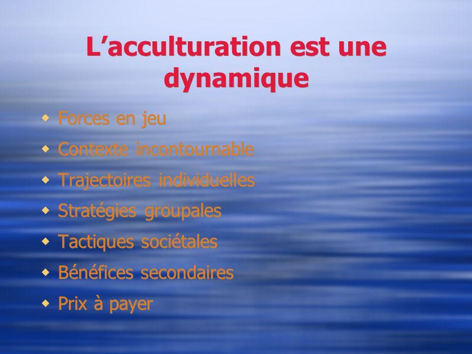 Lacculturation est une dynamique Forces en jeu Contexte incontournable Trajectoires individuelles Stratégies groupales Tactiques sociétales Bénéfices