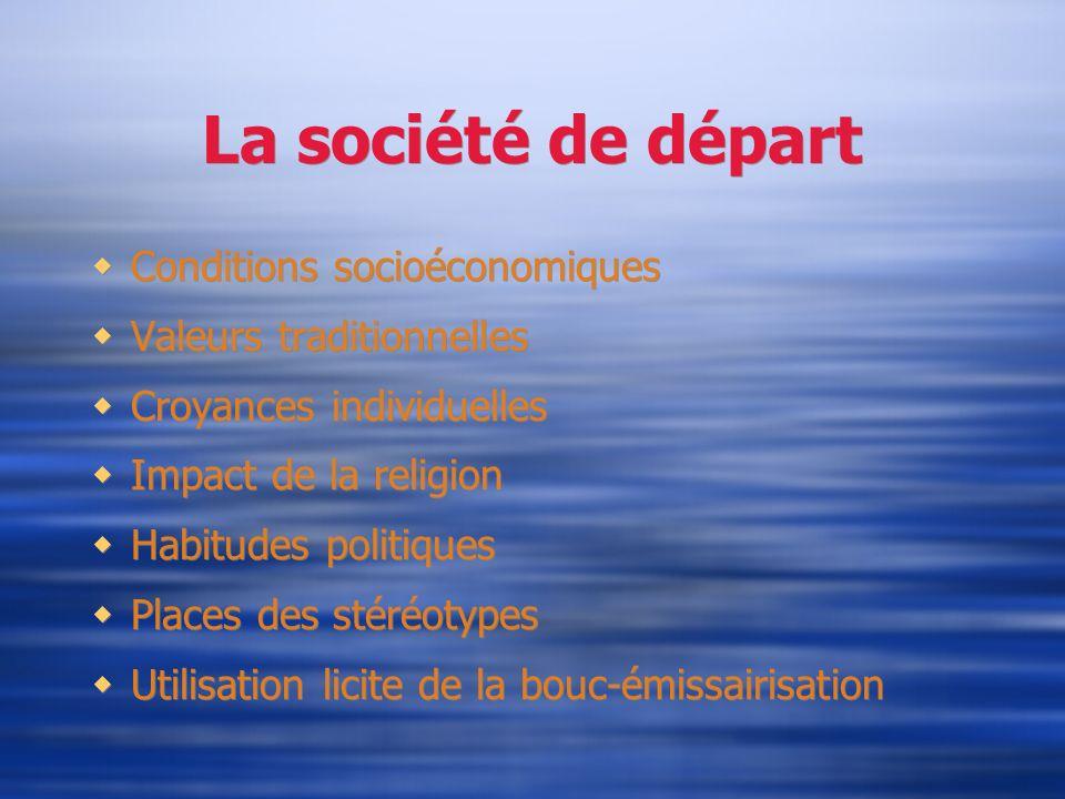 La société de départ Conditions socioéconomiques Valeurs traditionnelles Croyances individuelles Impact de la religion Habitudes politiques Places des