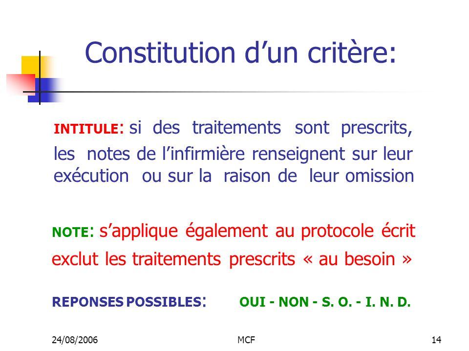 24/08/2006MCF14 Constitution dun critère: INTITULE : si des traitements sont prescrits, les notes de linfirmière renseignent sur leur exécution ou sur