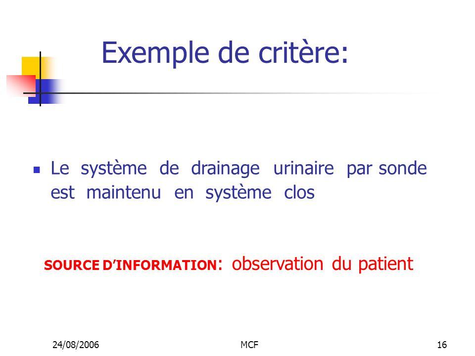 24/08/2006MCF16 Exemple de critère: Le système de drainage urinaire par sonde est maintenu en système clos SOURCE DINFORMATION : observation du patien