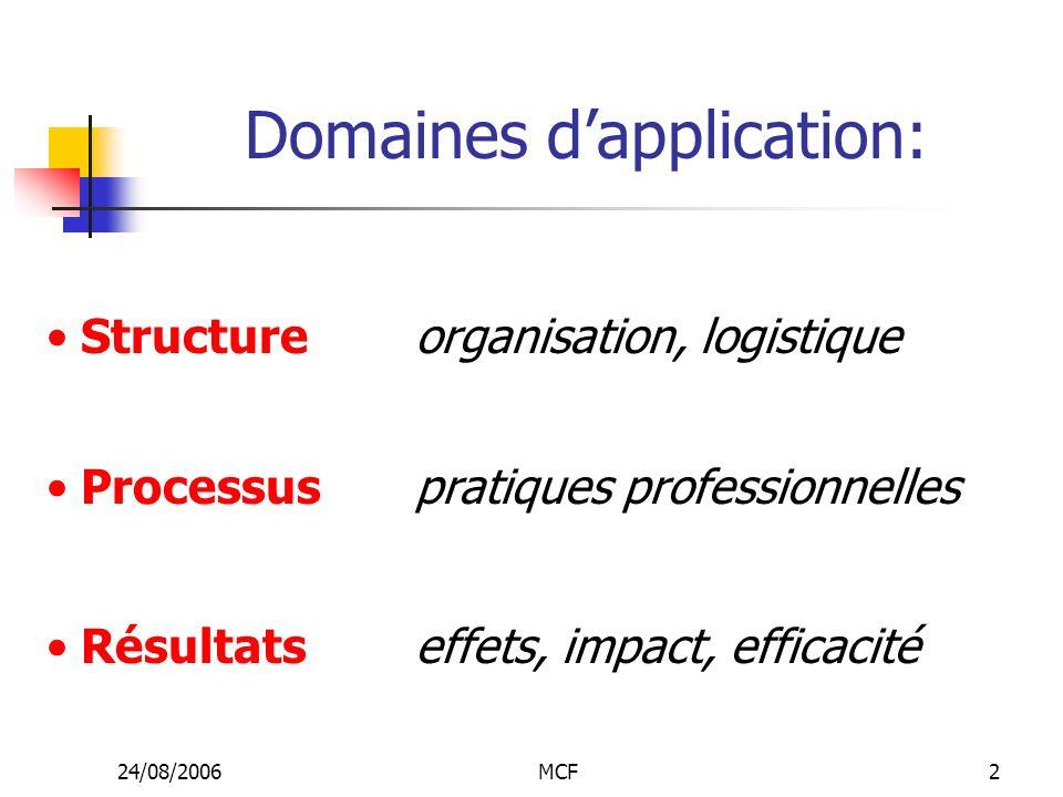 24/08/2006MCF2 Structure Domaines dapplication: organisation, logistique Processus pratiques professionnelles Résultats effets, impact, efficacité