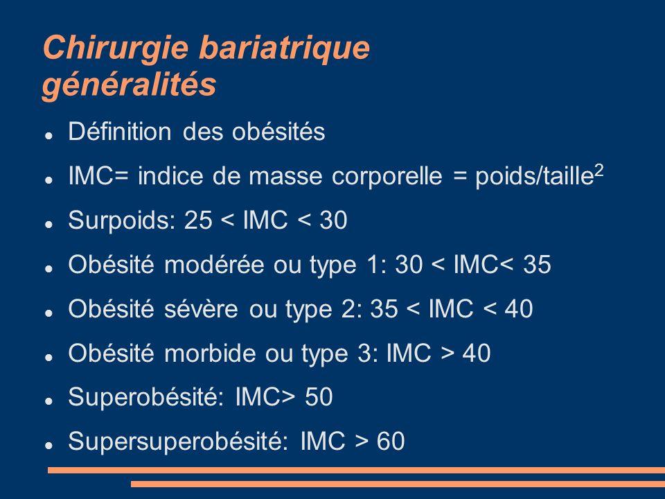 Chirurgie bariatrique généralités Définition des obésités IMC= indice de masse corporelle = poids/taille 2 Surpoids: 25 < IMC < 30 Obésité modérée ou