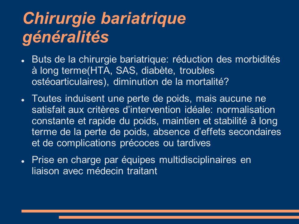 Chirurgie bariatrique généralités Buts de la chirurgie bariatrique: réduction des morbidités à long terme(HTA, SAS, diabète, troubles ostéoarticulaire