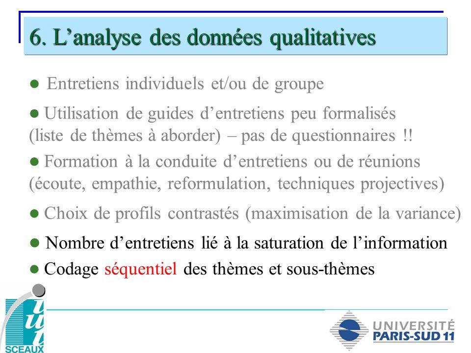 Entretiens individuels et/ou de groupe 6. Lanalyse des données qualitatives Utilisation de guides dentretiens peu formalisés (liste de thèmes à aborde