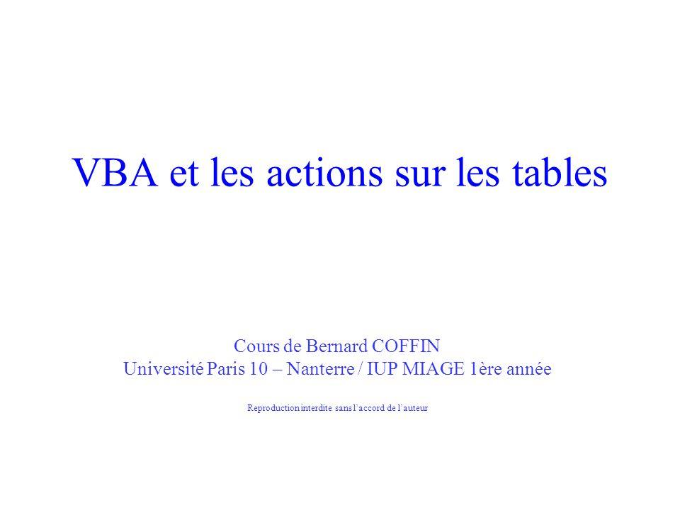 VBA et les actions sur les tables Cours de Bernard COFFIN Université Paris 10 – Nanterre / IUP MIAGE 1ère année Reproduction interdite sans laccord de lauteur
