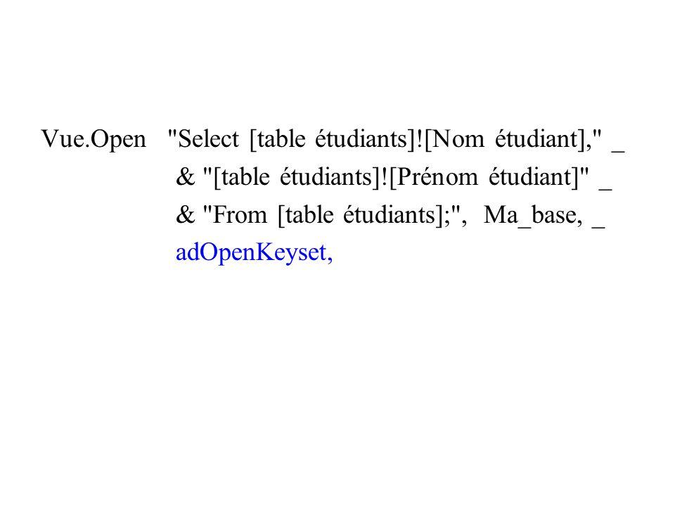 Vue.Open Select [table étudiants]![Nom étudiant], _ & [table étudiants]![Prénom étudiant] _ & From [table étudiants]; , Ma_base, _ adOpenKeyset,