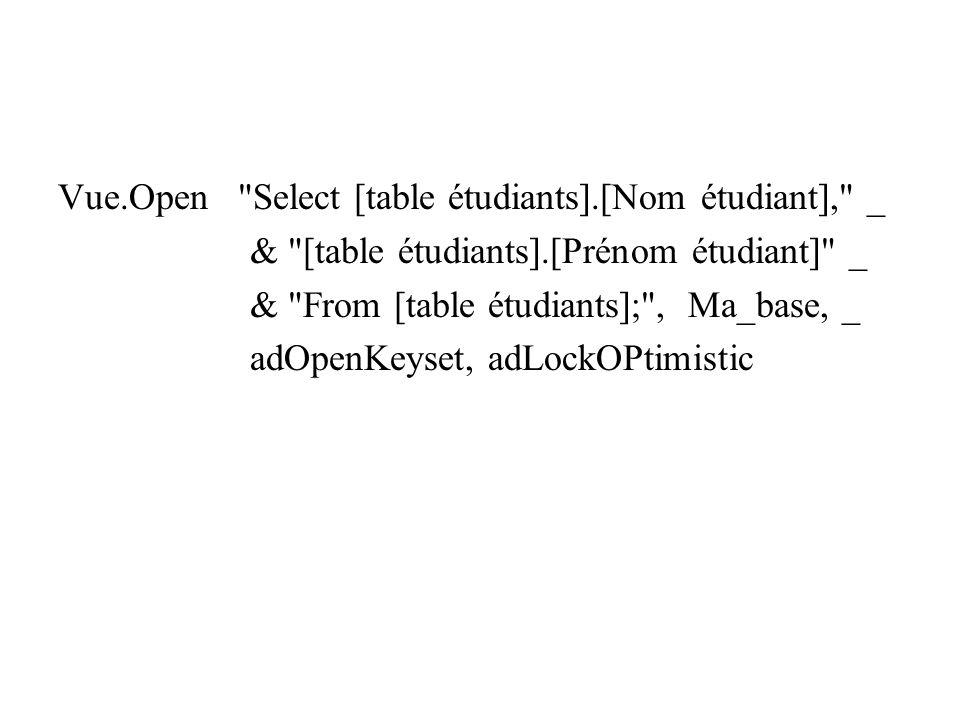 Vue.Open Select [table étudiants].[Nom étudiant], _ & [table étudiants].[Prénom étudiant] _ & From [table étudiants]; , Ma_base, _ adOpenKeyset, adLockOPtimistic