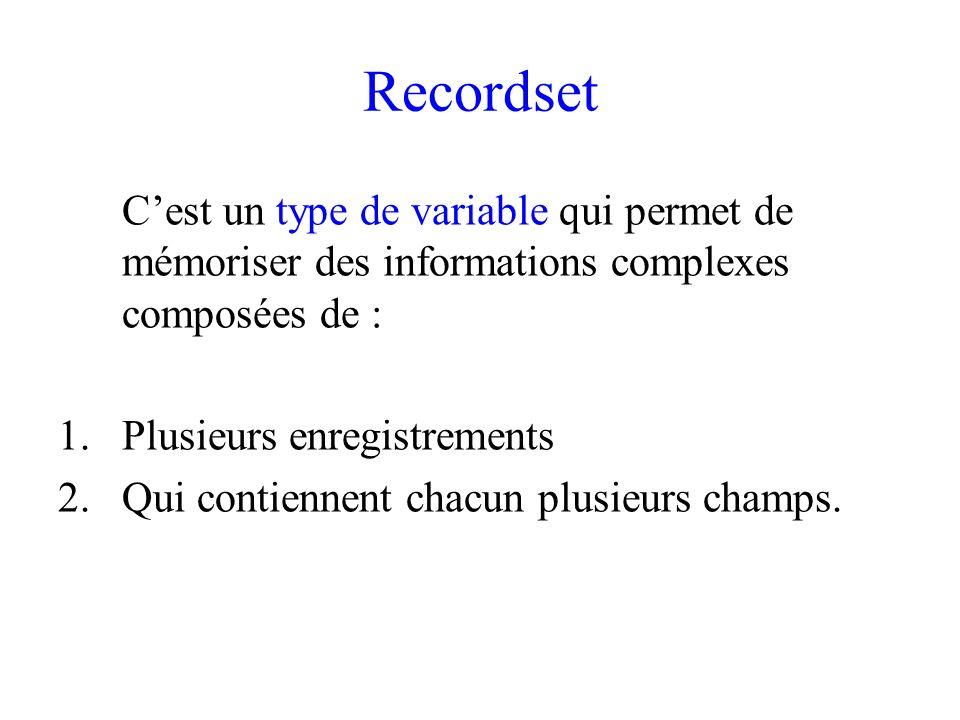 Recordset Cest un type de variable qui permet de mémoriser des informations complexes composées de : 1.Plusieurs enregistrements 2.Qui contiennent chacun plusieurs champs.