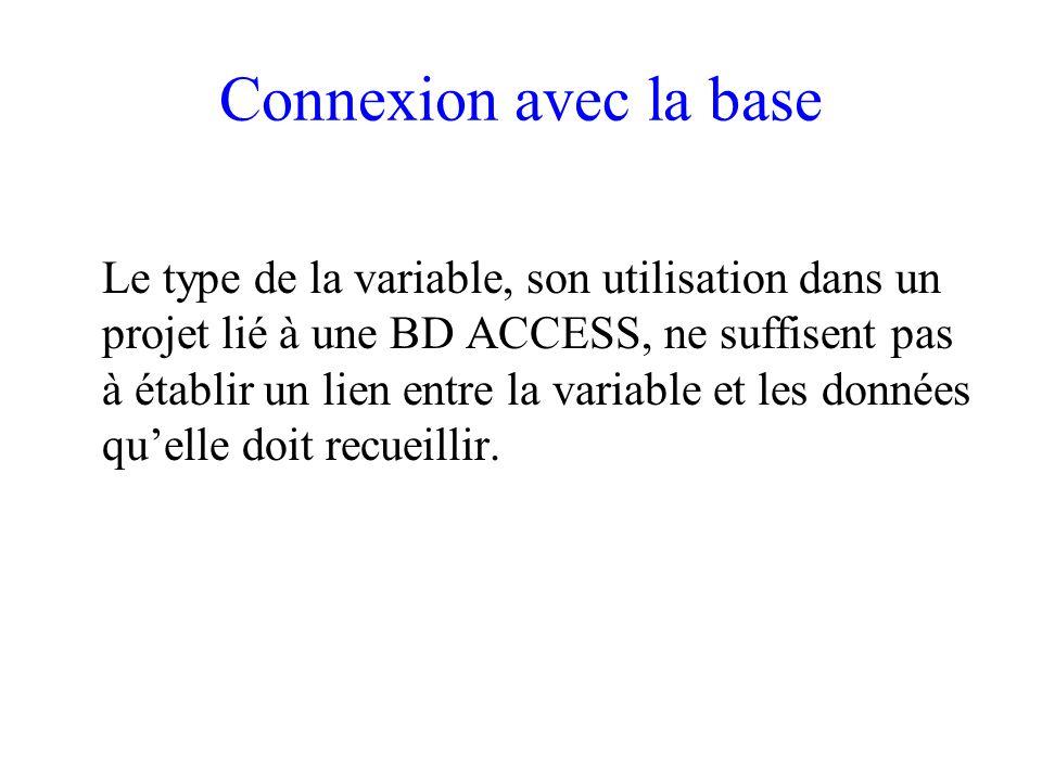 Connexion avec la base Le type de la variable, son utilisation dans un projet lié à une BD ACCESS, ne suffisent pas à établir un lien entre la variable et les données quelle doit recueillir.