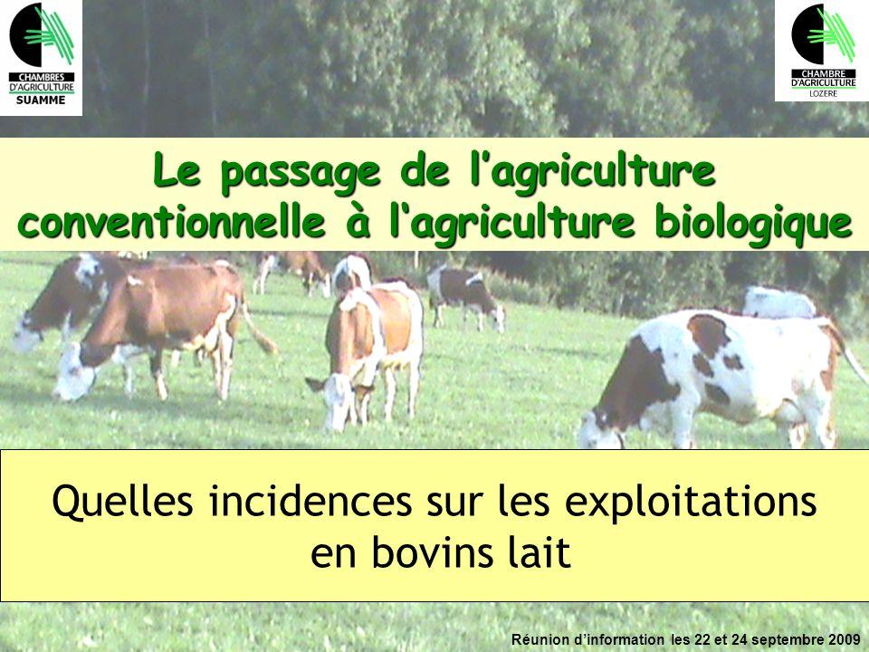 Réunion dinformation les 22 et 24 septembre 2009 Le passage de lagriculture conventionnelle à lagriculture biologique Quelles incidences sur les explo