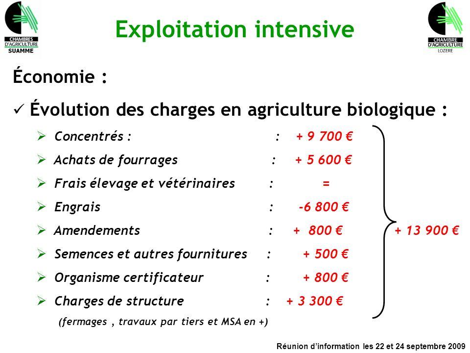 Réunion dinformation les 22 et 24 septembre 2009 Exploitation intensive Économie : Évolution des charges en agriculture biologique : Concentrés : : +