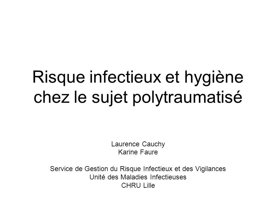 Risque infectieux et hygiène chez le sujet polytraumatisé Laurence Cauchy Karine Faure Service de Gestion du Risque Infectieux et des Vigilances Unité